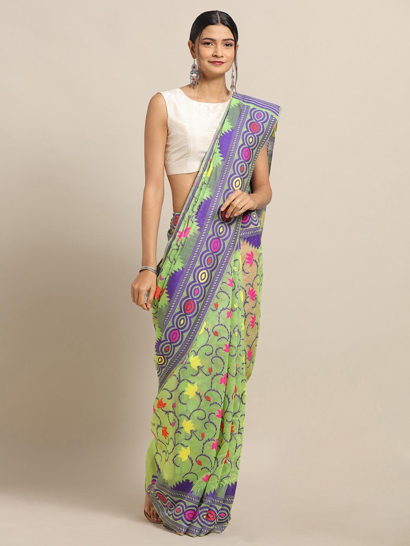Vastranand | VASTRANAND Green & Pink Silk Blend Woven Design Jamdani Saree