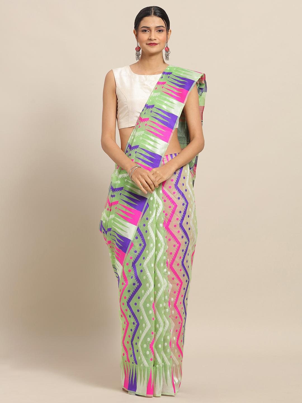 Vastranand   VASTRANAND Pista Coloured Trendy Dhakai Jamdani Cotton Silk Saree