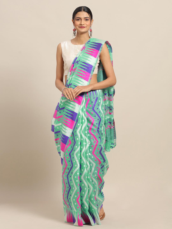 Vastranand | VASTRANAND Rama Coloured Trendy Dhakai Jamdani Cotton Silk Saree
