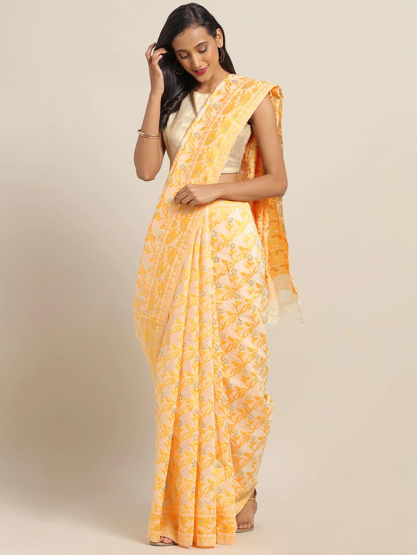Vastranand | VASTRANAND Yellow & Off-White Cotton Blend Printed Jamdani Saree
