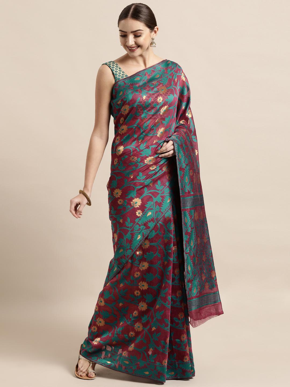 Vastranand | VASTRANAND  Burgundy & Green Cotton Blend Woven Design Jamdani Saree