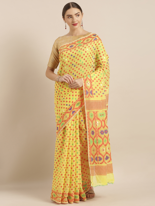 Vastranand | VASTRANAND  Yellow & Red Cotton Blend Woven Design Jamdani Saree