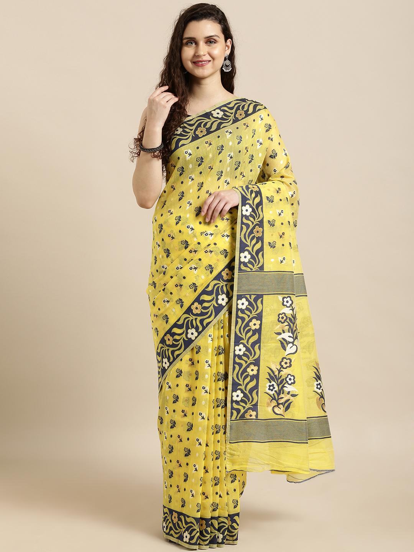 Vastranand | VASTRANAND  Yellow & Navy Blue Cotton Blend Woven Design Jamdani Saree