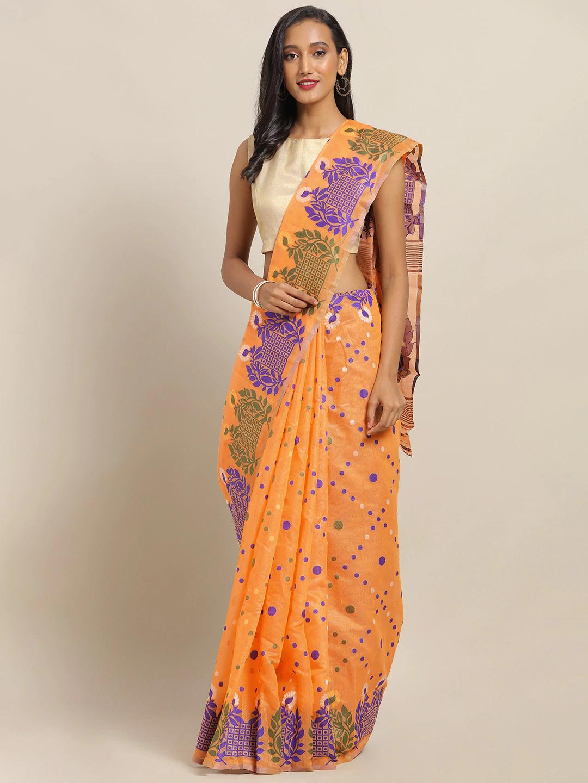 Vastranand | VASTRANAND Orange & Violet Cotton Blend Printed Jamdani Saree