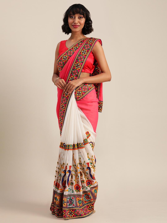 Vastranand | VASTRANAND  Pink & White Georgette Embroidered Saree