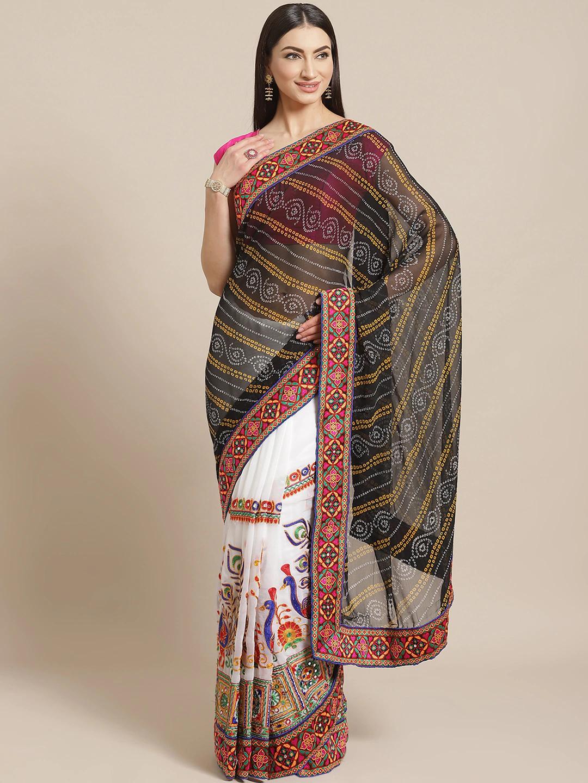 Vastranand | VASTRANAND  Black & White Kutchi Embroidered Half and Half Bandhani Saree