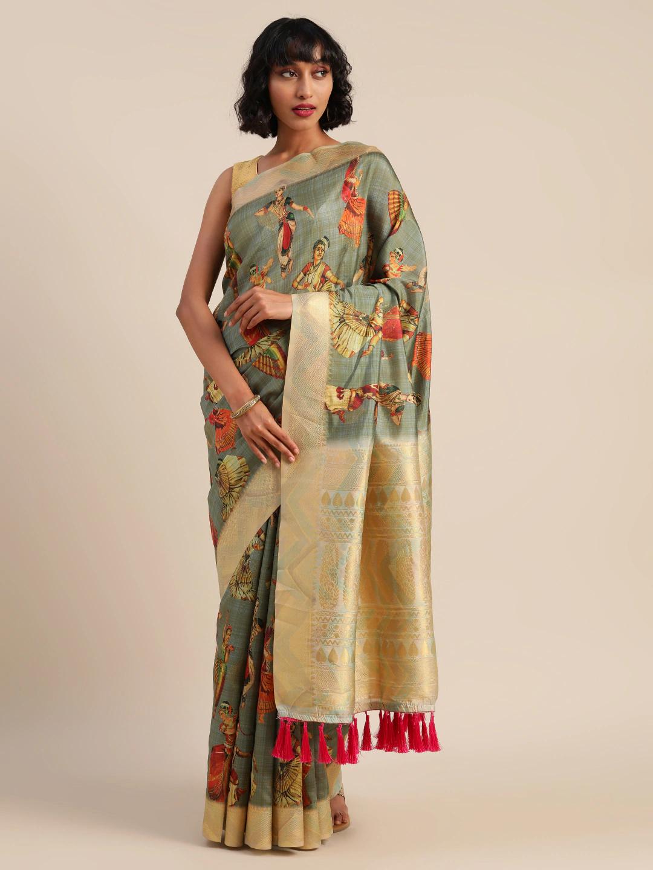 Vastranand   VASTRANAND  Grey & Golden Silk Blend Kalamkari Printed Festive Saree