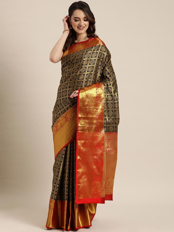 Vastranand   VASTRANAND  Black & Gold-Toned Silk Blend Woven Design Kanjeevaram Saree