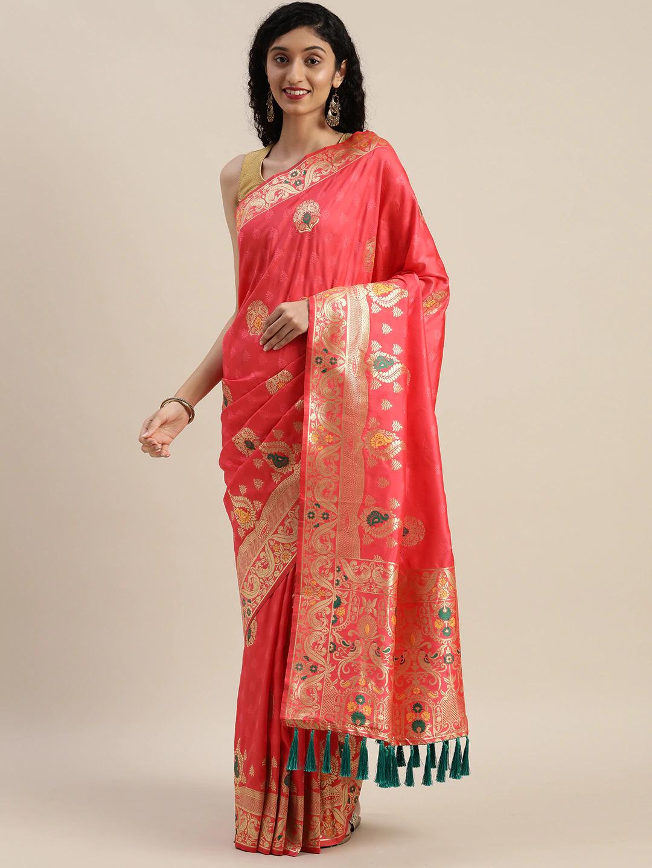 Vastranand | VASTRANAND  Pink & Golden Silk Blend Woven Design Kanjeevaram Saree