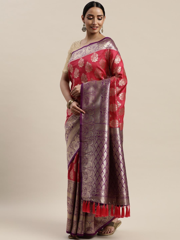 Vastranand | VASTRANAND Red & Purple Silk Blend Woven Design Banarasi Saree