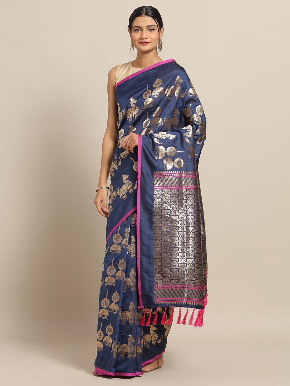 Vastranand   VASTRANAND Navy Blue & Gold-Toned Silk Blend Woven Design Banarasi Saree