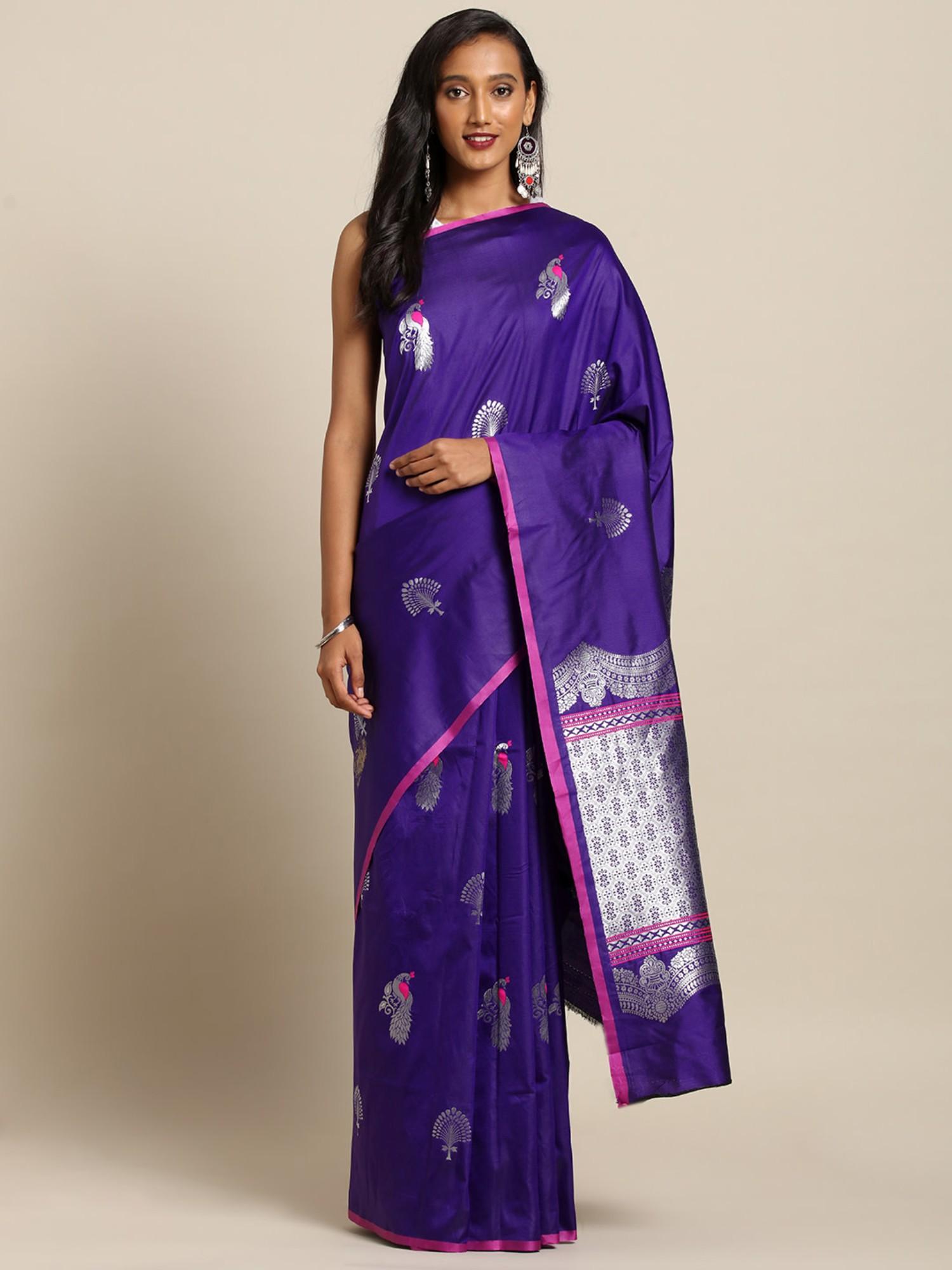 Vastranand   VASTRANAND  Navy Blue & Silver-Toned Silk Blend Woven Design Kanjeevaram Saree