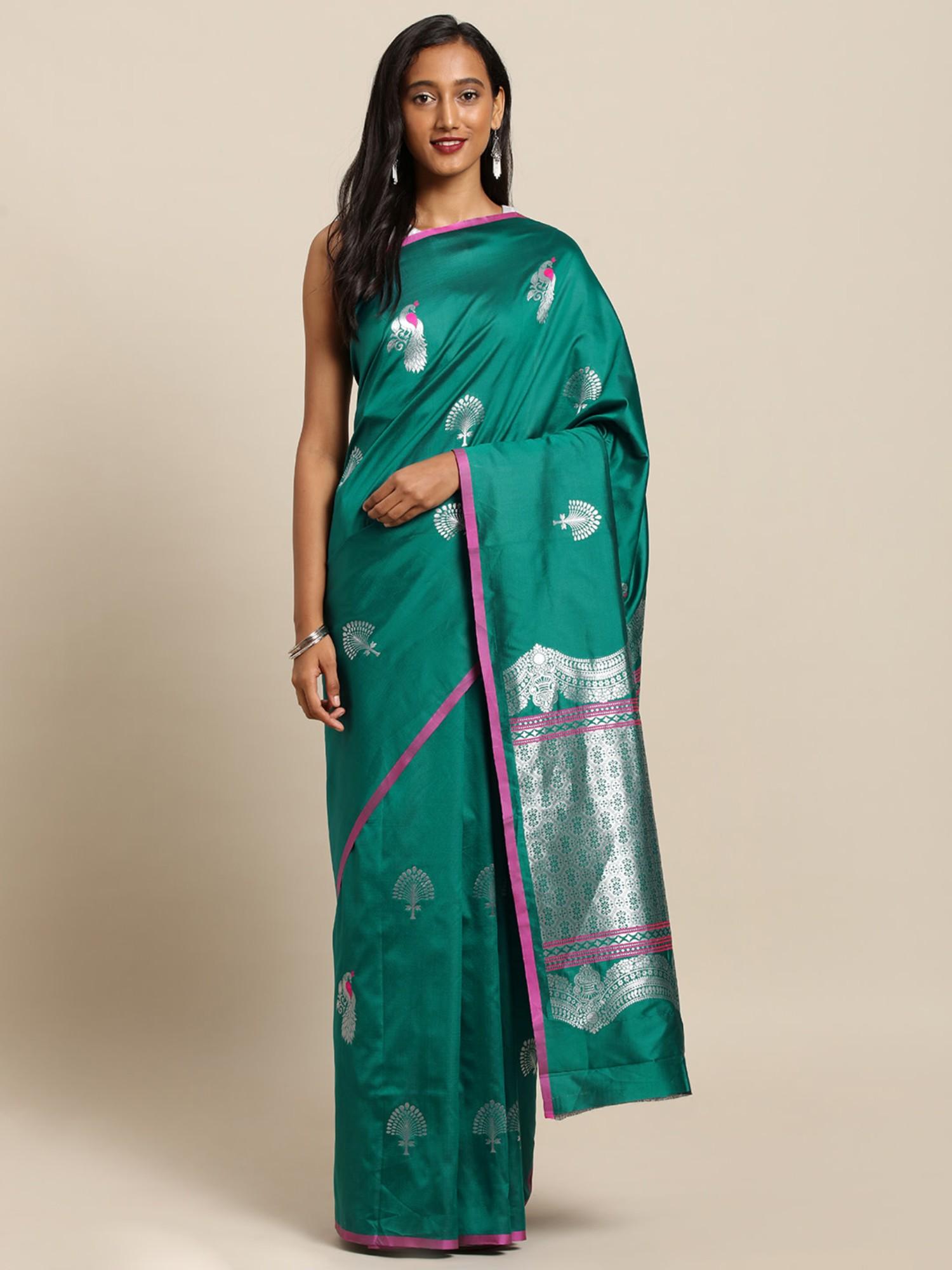 Vastranand   VASTRANAND  Green & Silver-Toned Silk Blend Woven Design Banarasi Saree