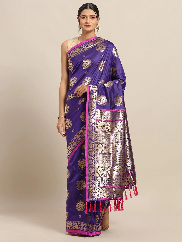 Vastranand   VASTRANAND Purple & Gold-Toned Silk Blend Woven Design Banarasi Saree