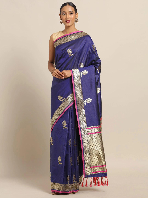 Vastranand   VASTRANAND Navy Blue & Pink Silk Blend Woven Design Banarasi Saree