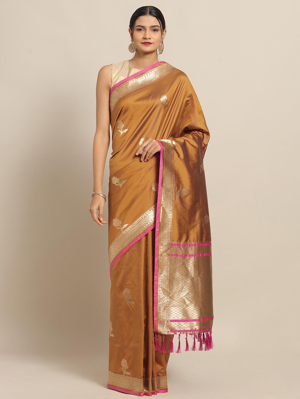 Vastranand | VASTRANAND Yellow New Soft Silk Banarasi Rose Kesari Paithani Saree