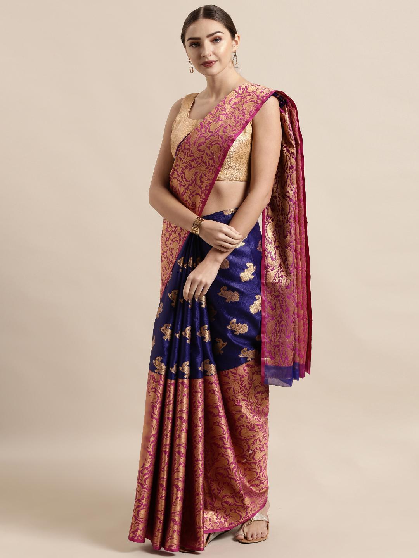 Vastranand | VASTRANAND  Navy Blue & Pink Silk Blend Woven Design Kanjeevaram Saree