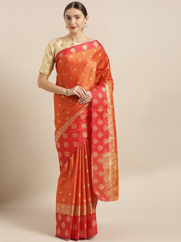 Vastranand | VASTRANAND  Orange & Red Kora Muslin Silk Blend Woven Design Kanjeevaram Saree