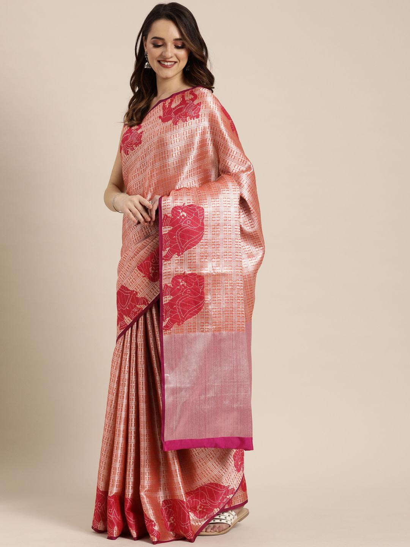 Vastranand | VASTRANAND  Peach-Coloured & Gold-Toned Silk Blend Checked Kanjeevaram Saree