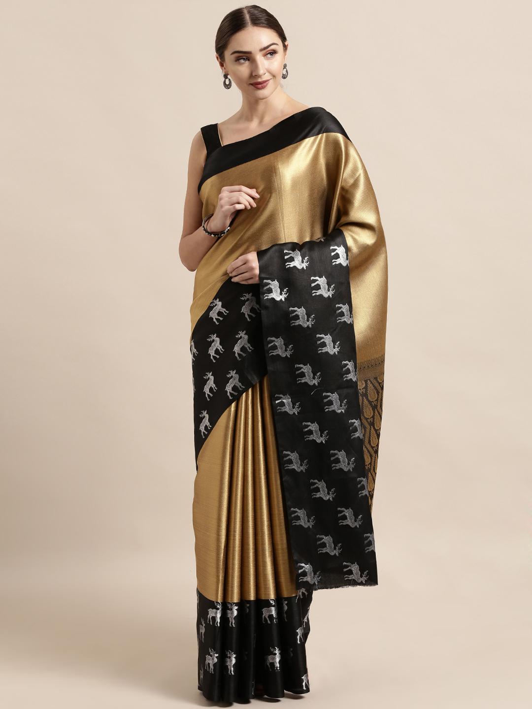 Vastranand | VASTRANAND  Gold-Toned & Black Silk Blend Solid Kanjeevaram Saree