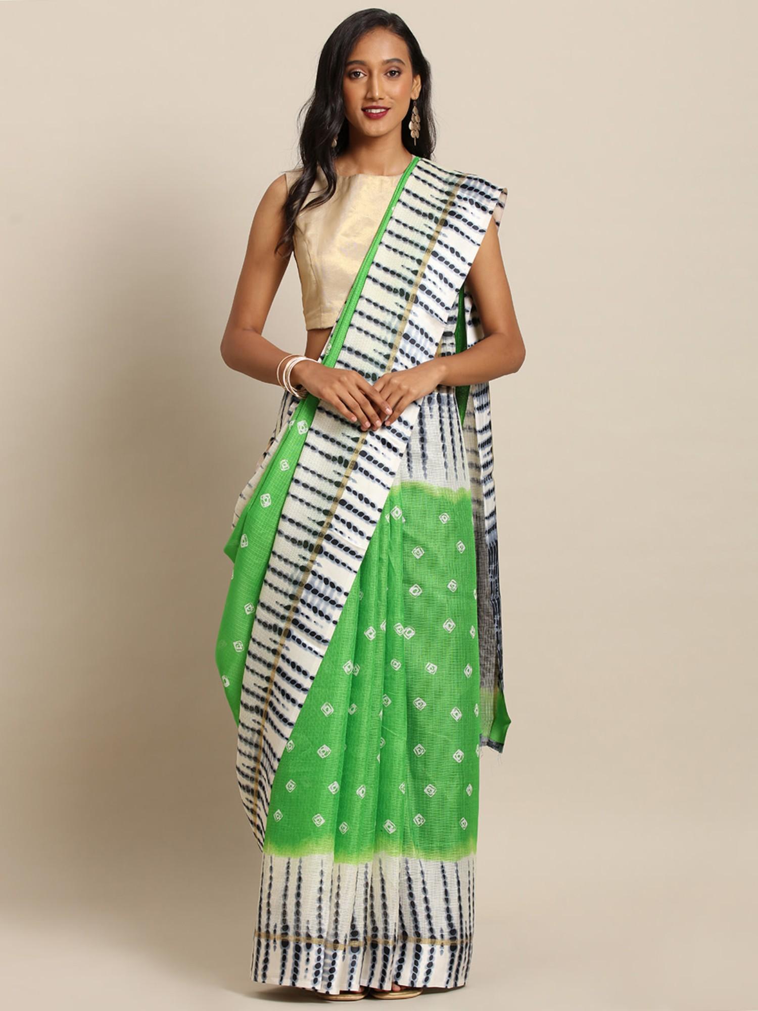Vastranand | VASTRANAND  Green & White Net Bandhani Printed Kota Saree