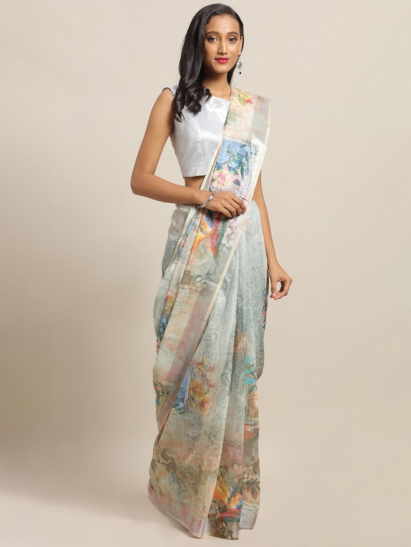 Vastranand | VASTRANAND Multicoloured Linen Blend Floral Printed Khadi Saree