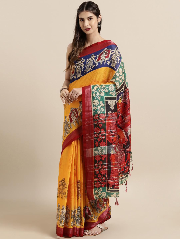 Vastranand | VASTRANAND  Yellow & Red Linen Blend kalamkari Printed Saree