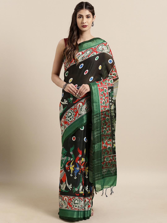 Vastranand | VASTRANAND  Black & Green Linen Blend kalamkari Printed Saree
