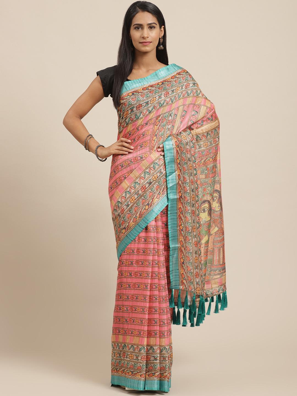Vastranand | VASTRANAND Pink & Green Kalamkari Print Saree