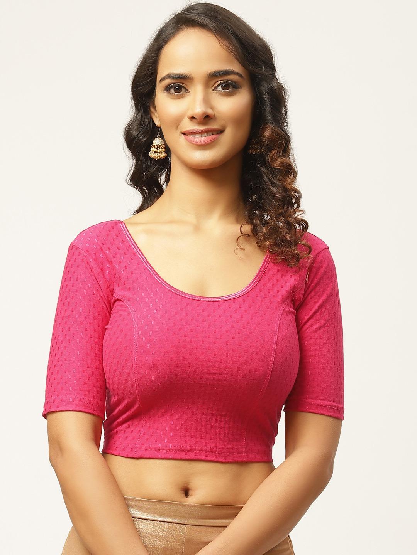 Vastranand   VASTRANAND Women Pink Woven-Design Stretchable Saree Blouse