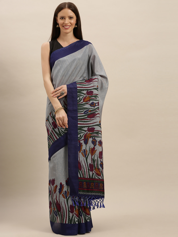 Vastranand   VASTRANAND  Blue Printed Silk Blend Saree