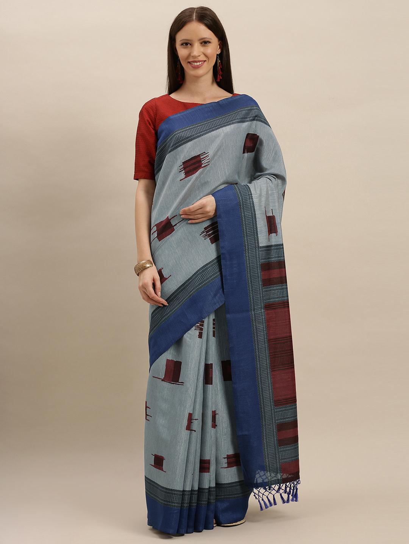 Vastranand   VASTRANAND  Blue & Maroon Silk Blend Printed Saree