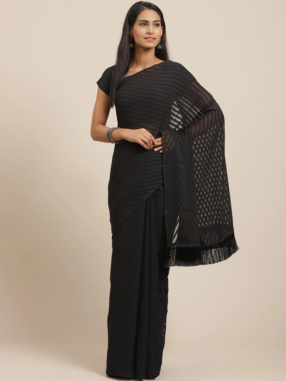 Vastranand | VASTRANAND Black Self-Striped Saree