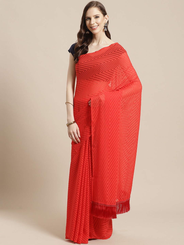 Vastranand | VASTRANAND Red Chevron Printed Saree