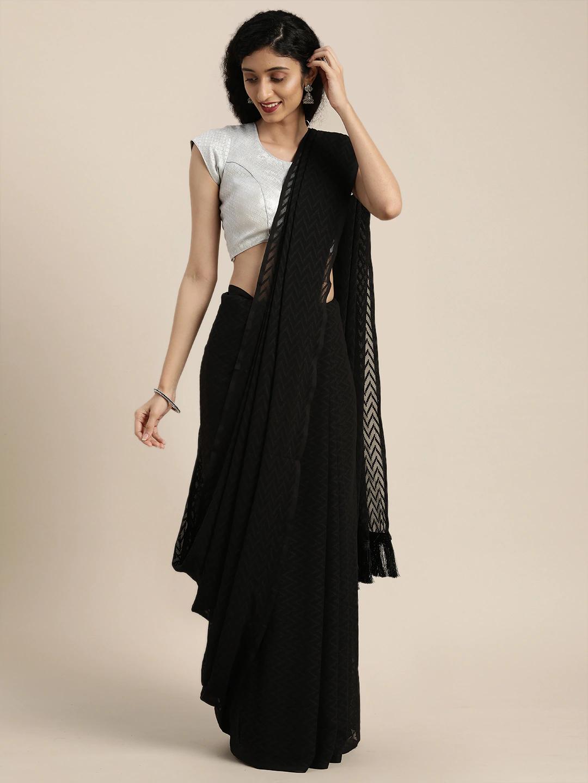 Vastranand | VASTRANAND  Black Woven Design Georgette Saree