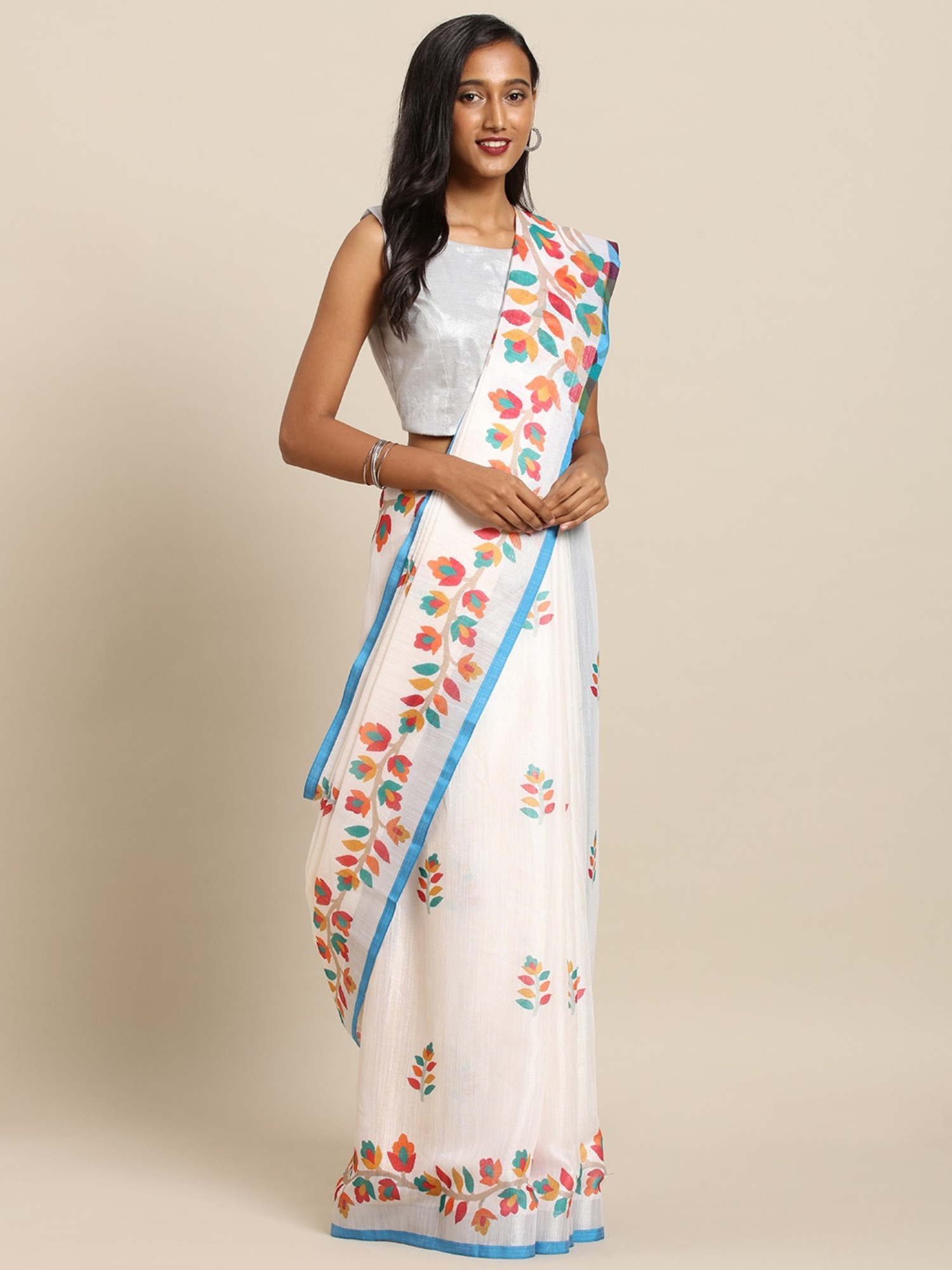 Vastranand | VASTRANAND  Sky Flower Valley Pure Linen Onam Spc Kerala Saree