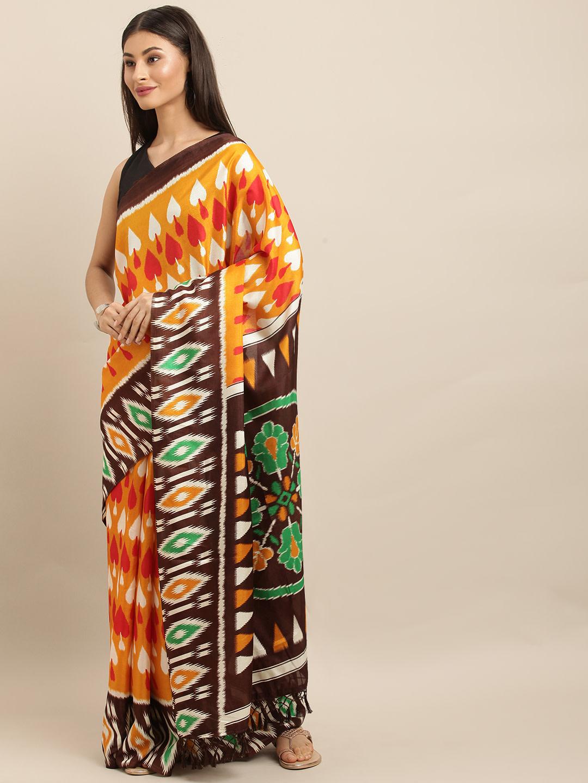 Vastranand | VASTRANAND  Mustard Yellow & Brown Linen Blend Printed Ikat Saree