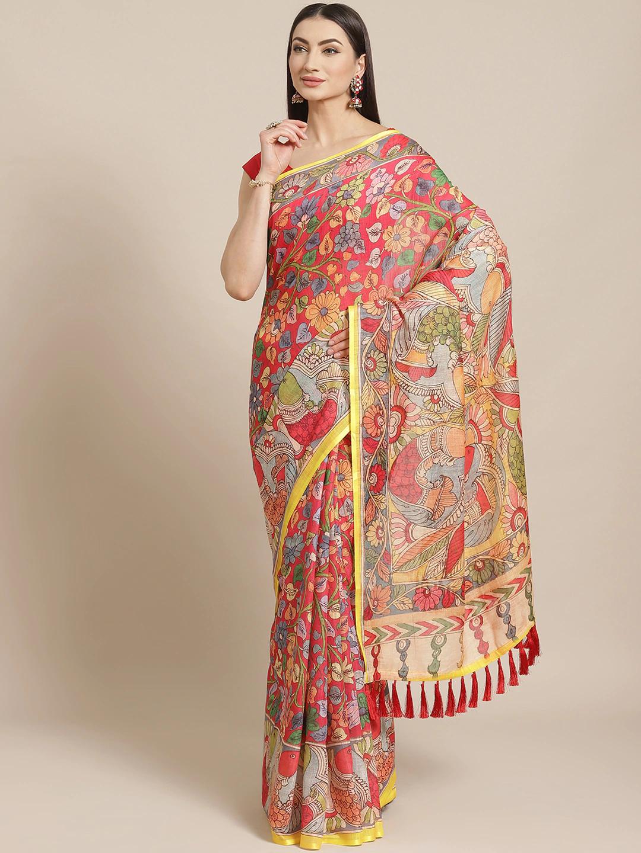 Vastranand | VASTRANAND  Red & Yellow Printed Saree