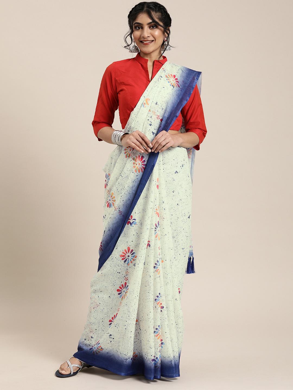 Vastranand | VASTRANAND  White & Navy Blue Linen Blend Printed Block Print Saree