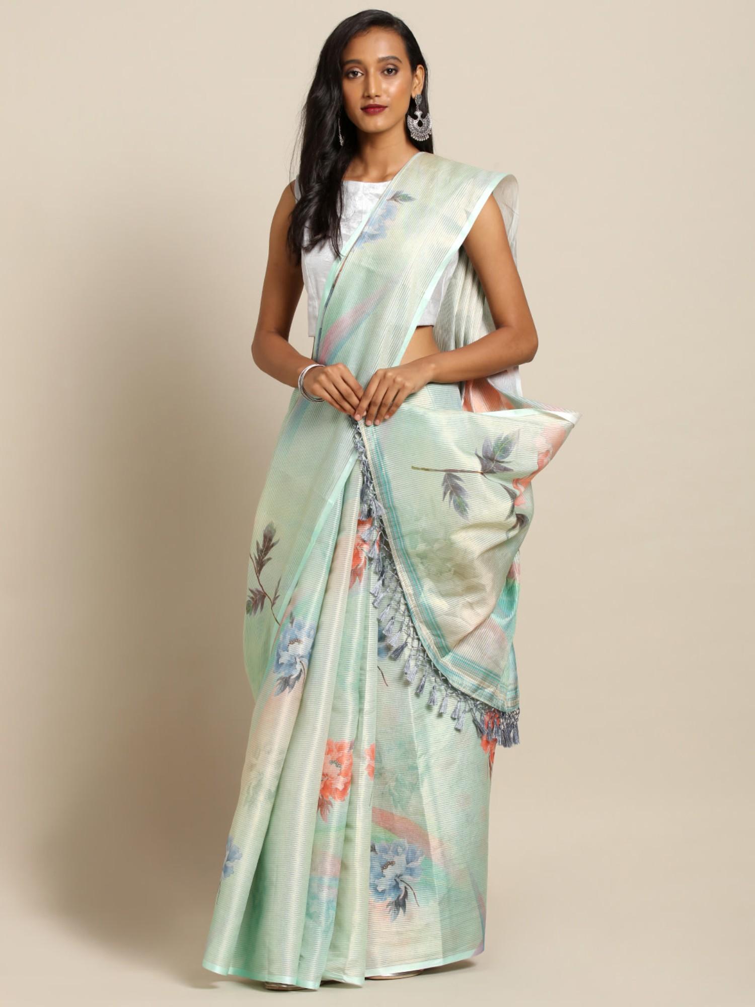 Vastranand   VASTRANAND  Lime Green & Peach-Coloured Silk Printed Maheshwari Saree