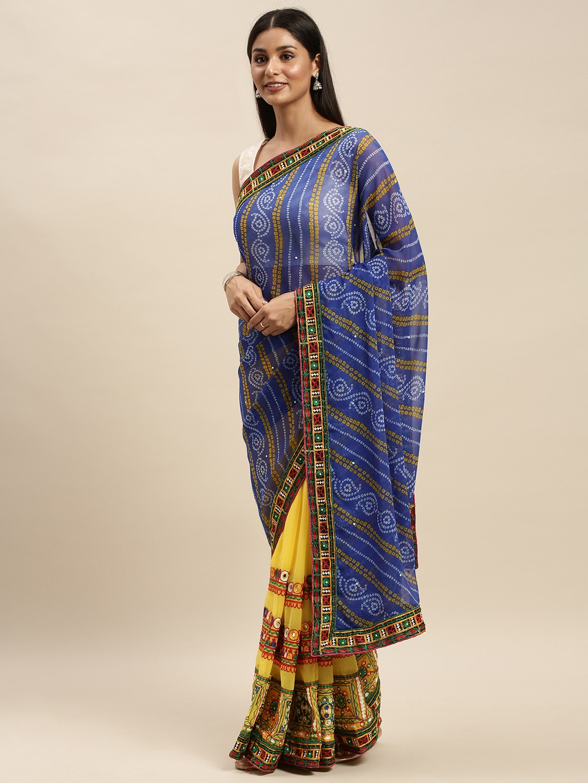 Vastranand | VASTRANAND Yellow & Green Georgette Embroidered Bandhani Saree