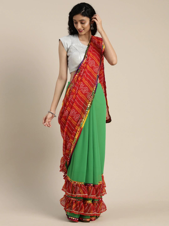 Vastranand   VASTRANAND  Green & Red Georgette Printed Bandhani Saree