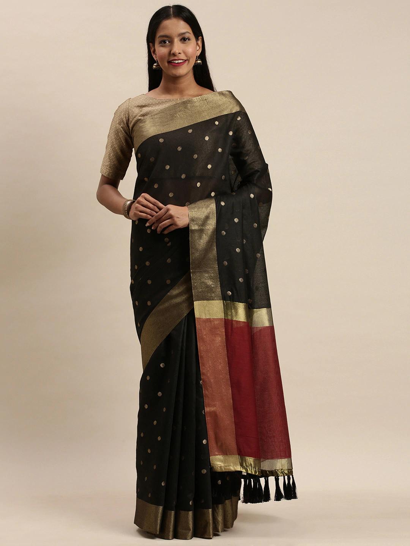 Vastranand | VASTRANAND Black & Gold-Toned Silk Blend Woven Design Banarasi Saree