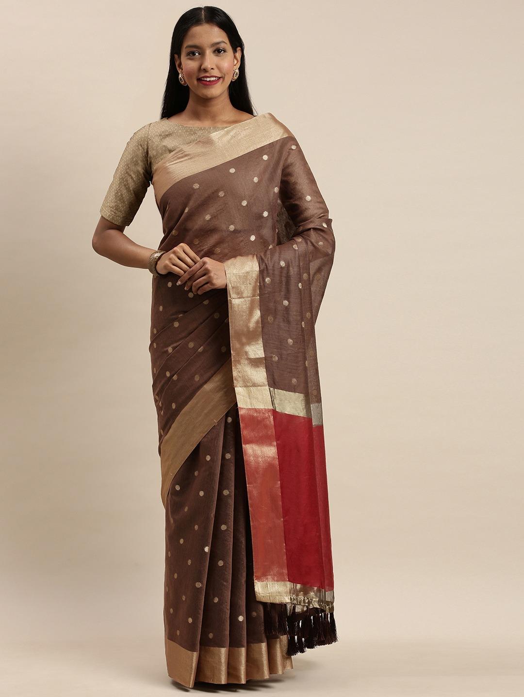 Vastranand   VASTRANAND Coffee Brown & Golden Silk Blend Woven Design Kanjeevaram Saree