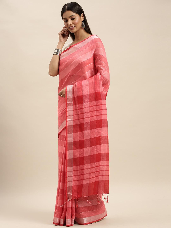 Vastranand   VASTRANAND Pink Striped Linen Blend Saree