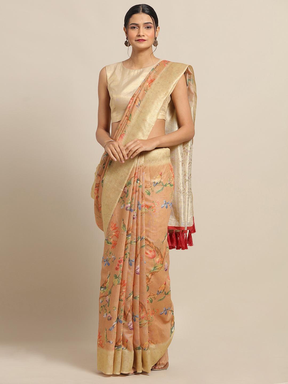 Vastranand | VASTRANAND Rust Orange & Green Cotton Blend Floral Printed Banarasi Saree
