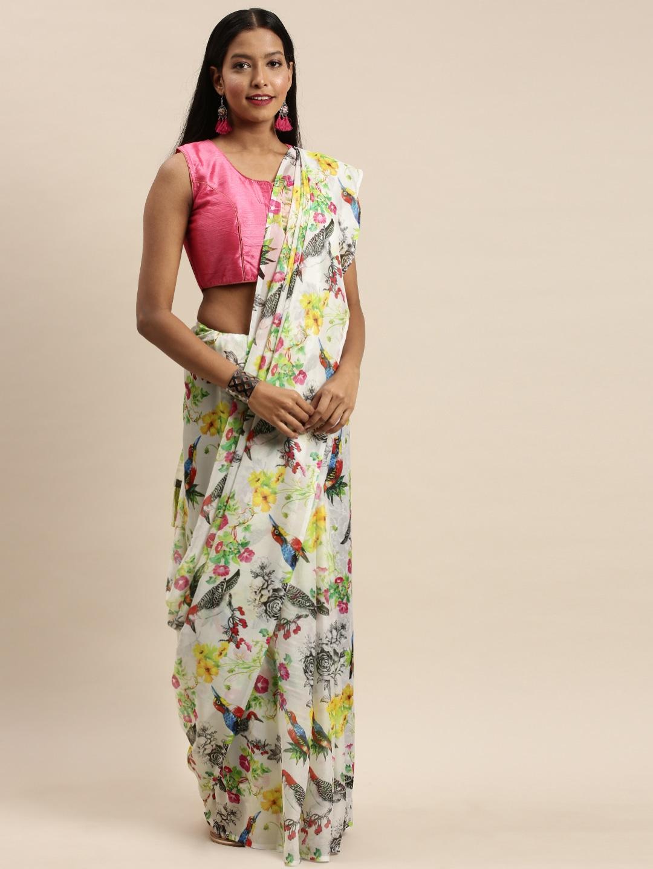 Vastranand | VASTRANAND White & Black Pure Silk Floral Printed Saree