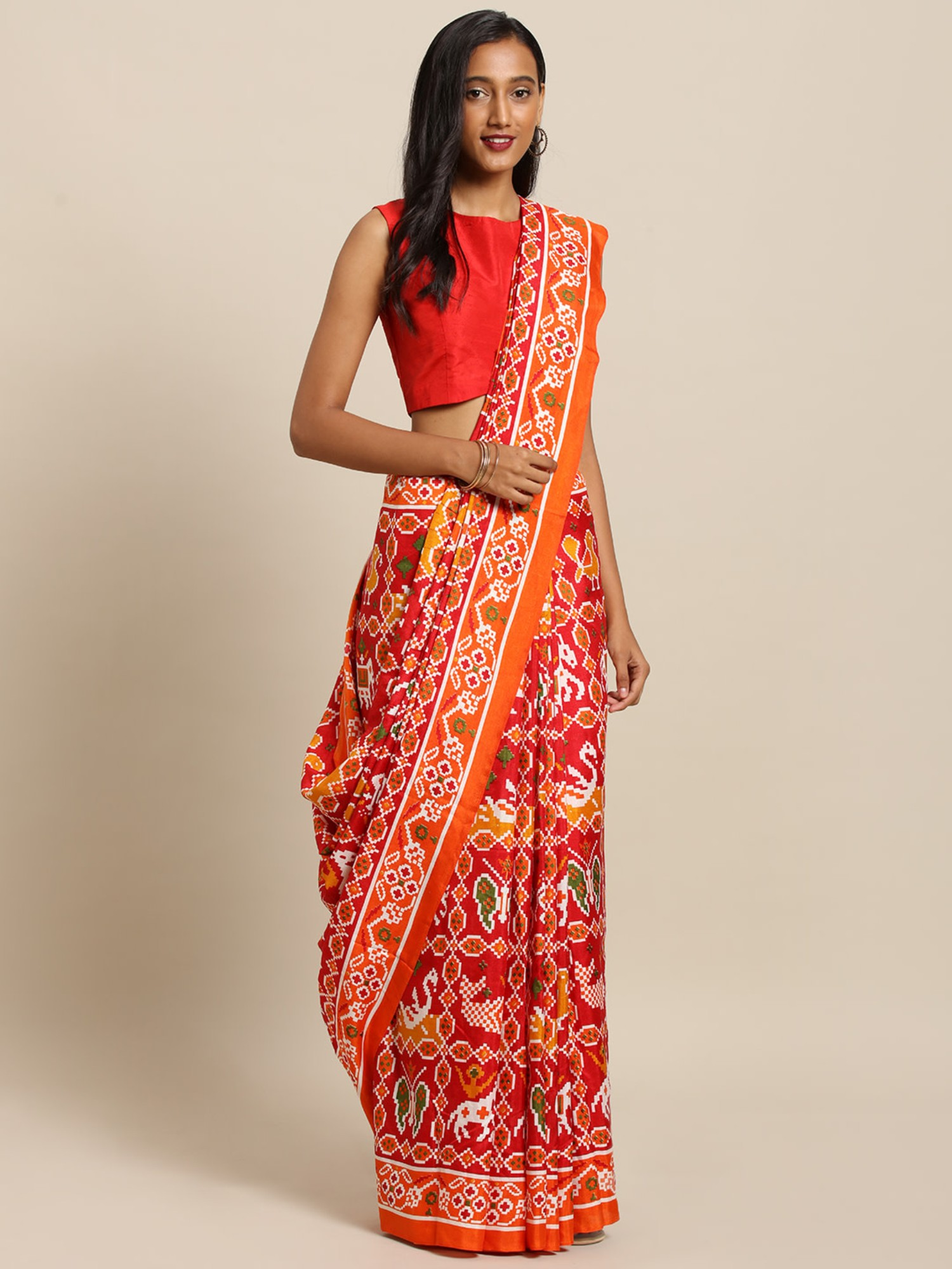 Vastranand | VASTRANAND  Red & Orange Linen Blend Printed Others Saree