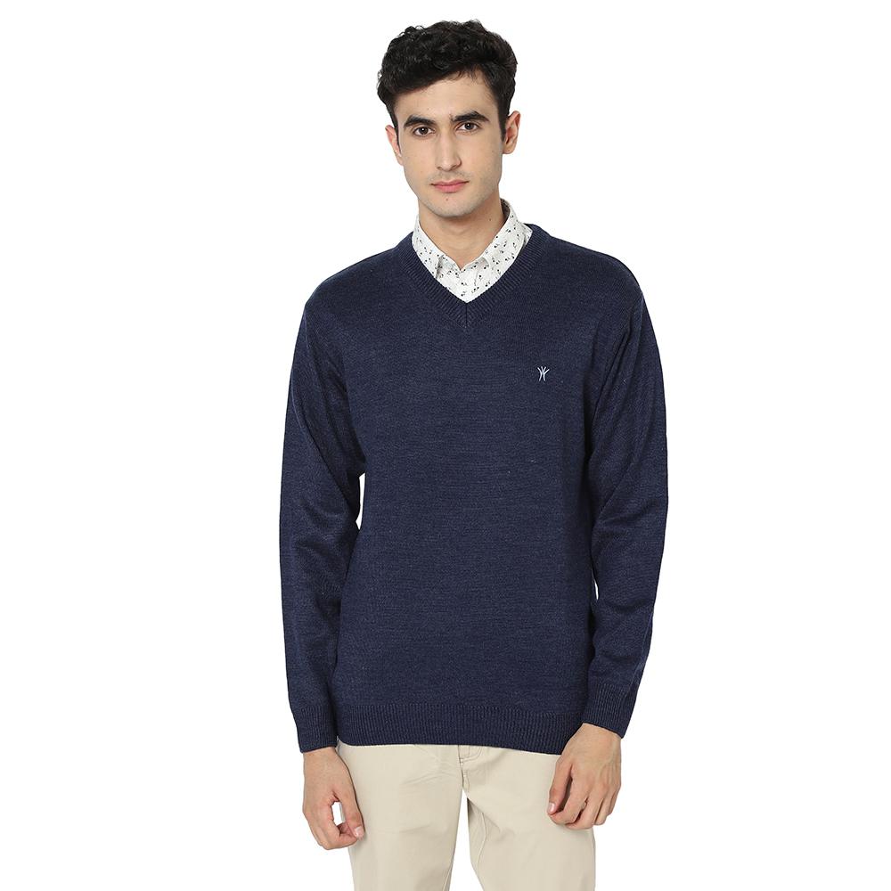 VENITIAN | Venitian Mens Solid V Neck Acrylic Blend Indigo Sweater