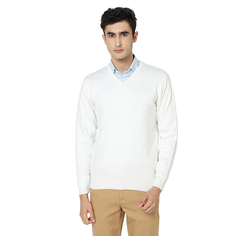 VENITIAN | Venitian Mens Solid V Neck Acrylic Blend White Sweater